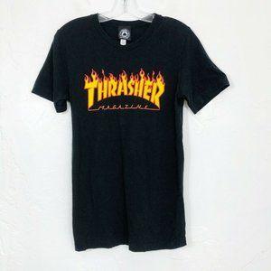 Thrasher Magazine Black Flame Logo Graphic Tee